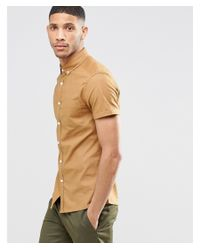 ASOS - Brown Skinny Oxford Shirt In Camel With Short Sleeves for Men - Lyst