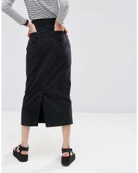 ASOS - Denim Mom Skirt In Washed Black - Lyst