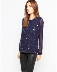 French Connection - Black Million Stars High Neck Shirt In Nocturnal - Lyst