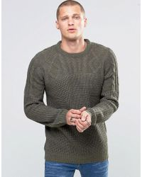 Blend | Crew Slim Heavy Knit Jumper Cable Top Ivy Green for Men | Lyst