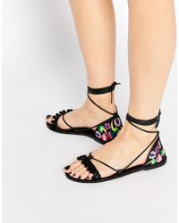 ASOS - Fate Leather Embroidered Tie Leg Sandals - Black - Lyst