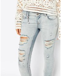 ONLY - Blue Coral Low Rise Bleached Skinny Jeans With Distressing - Lyst