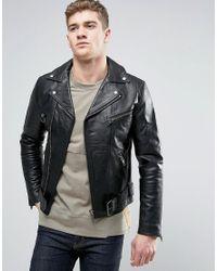 Nudie Jeans | Black Nudie Ziggy Leather Biker Jacket for Men | Lyst