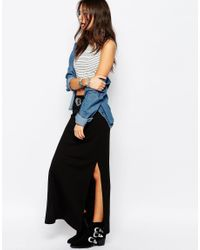 ONLY - Black Abbie Jersey Maxi Skirt With Split - Lyst