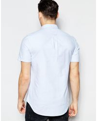 Farah - Blue Oxford Shirt In Slim Fit Short Sleeves for Men - Lyst