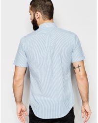 Farah - Multicolor Shirt With Seersucker Stripe Slim Fit Short Sleeves for Men - Lyst