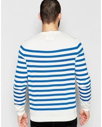 Farah - Blue Jumper With Breton Stripe Regular Fit for Men - Lyst