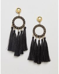 ASOS - Metallic Statement Woven Open Circle Tassel Earrings - Lyst