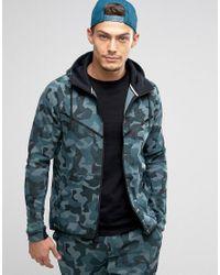 Nike | Tech Fleece Camo Zip-up Hoodie In Green 835866-392 for Men | Lyst
