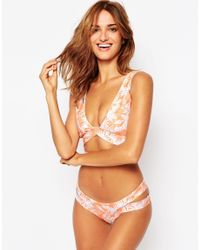 ASOS - Natural Peachy Palm Print Neoprene Bikini Bottom - Lyst