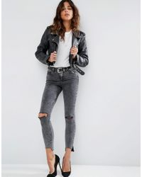 ASOS | Multicolor Ridley Skinny Jeans In Black Acid With Extreme Busts And Stepped Hem | Lyst