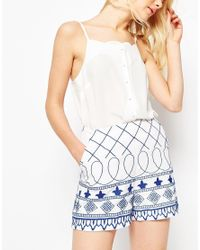 ASOS - Blue And White Embroidered Shorts - Lyst