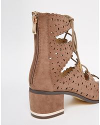 Truffle Collection - Brown Adley Ghillie Bootie Heeled Sandals - Lyst