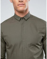 Noak - Green Skinny Shirt With Bluff Collar for Men - Lyst