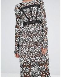 True Decadence - Black Premium Lace Midi Dress With Laddering Detail - Lyst
