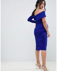 ASOS - Blue One Sleeve Fold Front Midi Bodycon Dress - Lyst