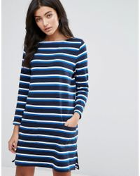 YMC | Blue Breton Stripe Long Sleeved Jersey Dress | Lyst