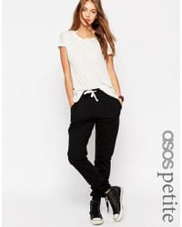 ASOS | White Basic Joggers With Contrast Tie - Black | Lyst