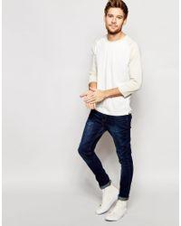 SELECTED - White Contrast Raglan Long Sleeve Top for Men - Lyst