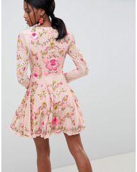 ASOS Pink Beautiful Embellished Floral Skater Dress