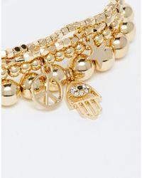 Orelia - Metallic Golden Statement Multipack Bracelets - Lyst