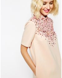 ASOS - Multicolor Encrusted Embellished Collar Short Sleeve Mini Shift Dress - Lyst