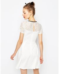 ASOS - White High Neck Skater Dress In Lace And Ponte - Lyst
