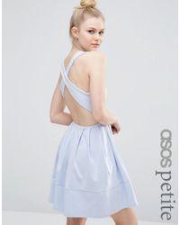 ASOS | Black Mini Skater Dress With Cross Back | Lyst