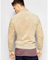 Esprit - Natural Suede Bomber Jacket for Men - Lyst