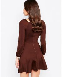 AX Paris | Brown Cold Shoulder Dress With Keyhole | Lyst