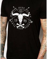 ASOS - Black T-shirt With Ram Skull Print for Men - Lyst