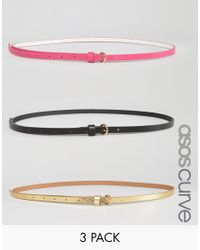 ASOS | Multicolor 3 Pack Multi Colored Skinny Waist And Hip Belts - Multi | Lyst