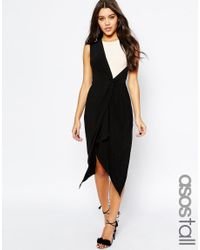ASOS - White Tall Wrap Midi Mono Drape Dress - Lyst