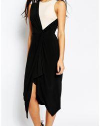 ASOS - White Tall Wrap Midi Mono Drape Dress - Lyst