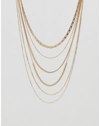 ASOS - Metallic Design Multirow Necklace With Vintage Style Chains In Gold - Lyst