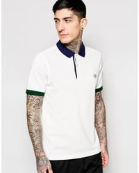 Fred Perry - White Polo Shirt With Contrast Collar Slim Fit for Men - Lyst