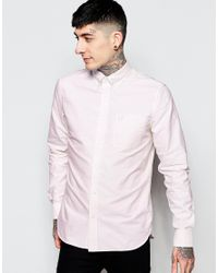 Fred Perry - Pink Oxford Shirt In Slim Fit for Men - Lyst