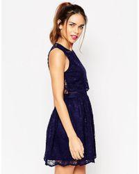 ASOS DESIGN - Natural Asos Lace Crop Top Skater Dress - Lyst