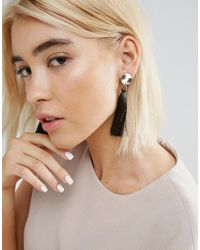 ASOS - Green Disc And Tassel Drop Earrings - Lyst