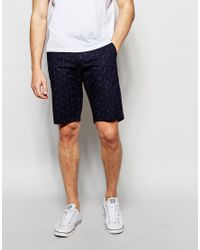 Blend - Black Slim Chino Shorts Broken Line Print In Insignia Blue for Men - Lyst