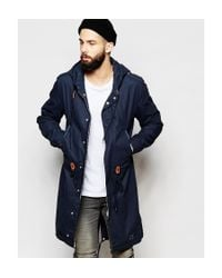 Brixtol - Blue Waxed Parka With Hood for Men - Lyst