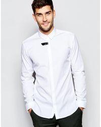 HUGO - Metallic By Boss Smart Shirt Slim Fit In White for Men - Lyst