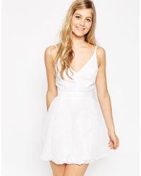 ASOS | White Chevron Textured Pleated Cami Mini Dress | Lyst
