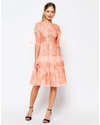 ASOS | Red Salon Lace And Organza Midi Dress | Lyst