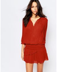 Ba&sh - Red Cassi Ruched Mini Dress In Brique - Lyst