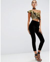 ASOS - Night Top With One Shoulder Ruffle In Metallic - Lyst