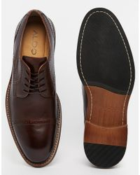 ALDO - Brown Ldo Rodallo Leather Brogue Derby Shoes for Men - Lyst