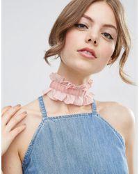 ASOS | Pink Ruffle Bow Velvet Choker Necklace | Lyst