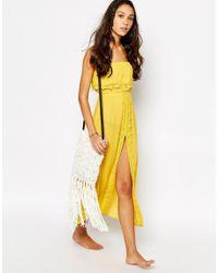 Akasa - Gray Crochet Beach Maxi Split Dress - Yellow - Lyst