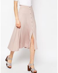 ASOS - Natural Midi Skater Skirt With Poppers - Lyst